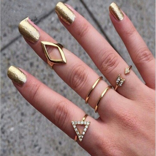 5pcs Fashion Joker Auger Arrows Crystal Triangle Joint Five Suit Silver Gold Finger Spinner Rings For Women