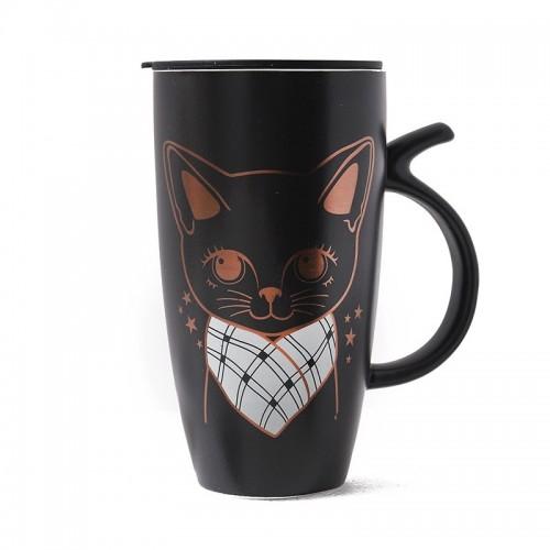 640ml Large Handmade Unique Cat Mug Ceramic Tall Animal Cup