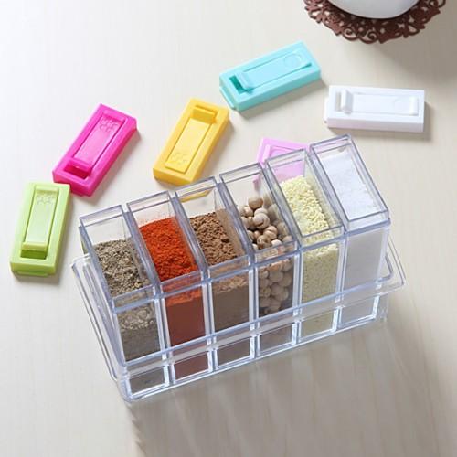 Transparent Spice Jar Set Salt and Pepper Seasoning Bottle  Lid Kitchen Condiment
