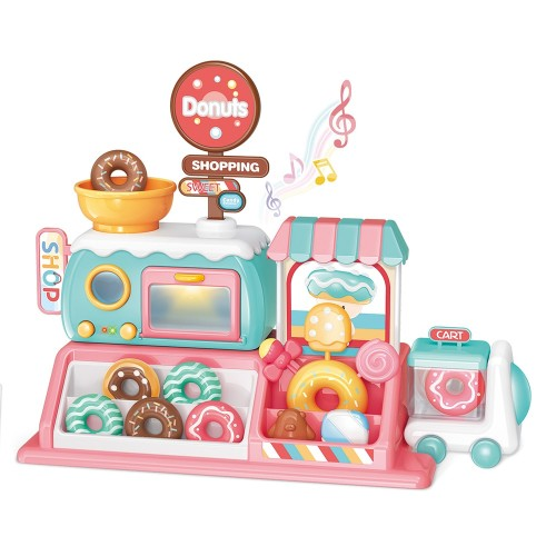 Donut Store Dining Car Miniature Food Lollipop Macaron Pretend Play Toy With Light & Music