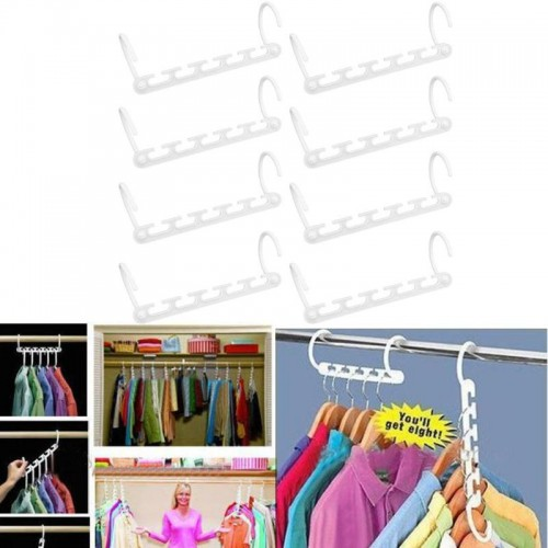 8pcs/Set Multilayer Clothes Hanger Organizer Fixed Holder Storage Racks Hangers Anti-Slip Home