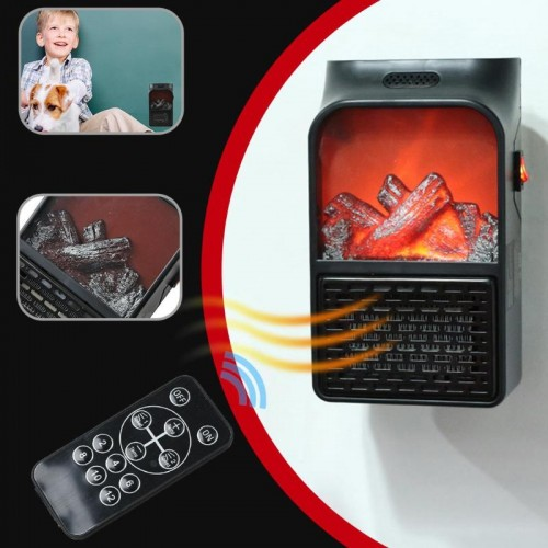1000W Mini Electric Fan Heater Remote Control Portable Plug-in Room Heater Air Heating
