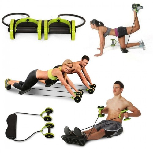 Abdominal Wheels Roller Stretch Multi-functional Resistance Pull Rope Abdominal Muscle Trainer Exercise