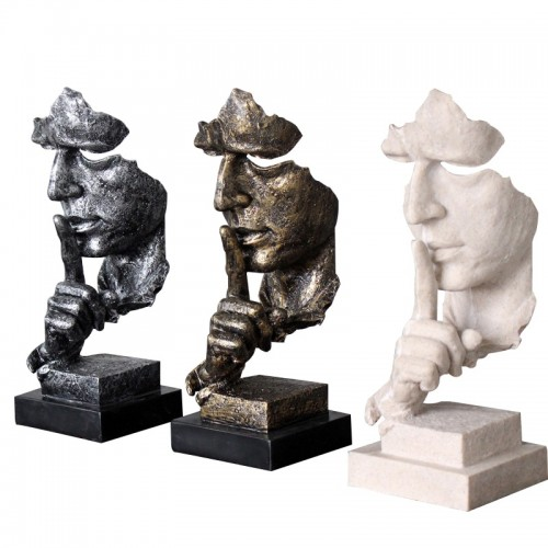 Abstract Art Silence Is Gold Ornaments European Sculpture Vintage Thinker Decorations Figurines