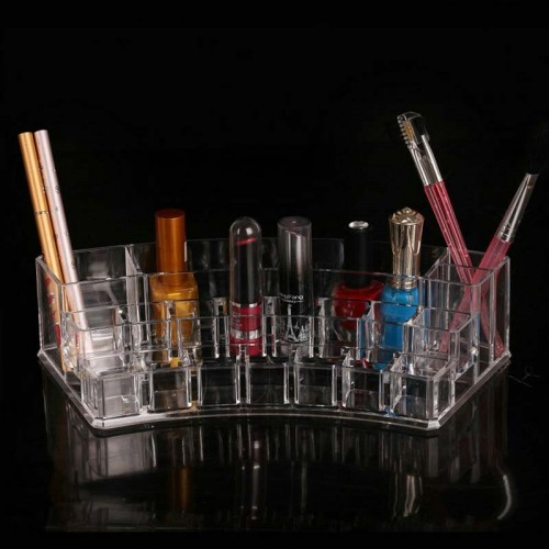 Makeup Organizer Transparent Desk Cosmetic Storage Box Lipstick Brush Holder