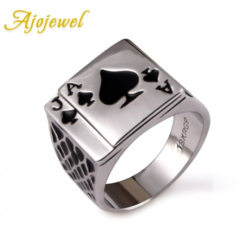 Classic Cool Men Jewelry Chunky Black Enamel Spades Poker Ring for Men
