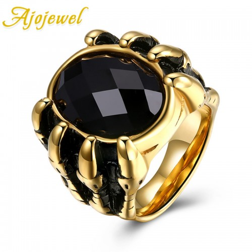Ajojewel Fashion Stainless Steel Punk Rings Skull Men Ring Gold Ring Black Glass Jewelry Claw Finger Circle