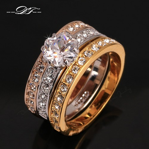 Anti Allergy 3 Rounds Cubic Zirconia Paved Engagement Rings Sets Rose Gold Color Crystal Wedding Jewelry For Women