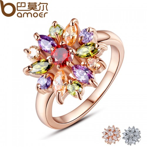 Rose Gold Ring for Women with AAA Multicolor Cubic Zircon