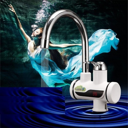 Tankless Electric Hot Water Heater Faucet Kitchen Instant Heating Tap Water with LED EU Plug