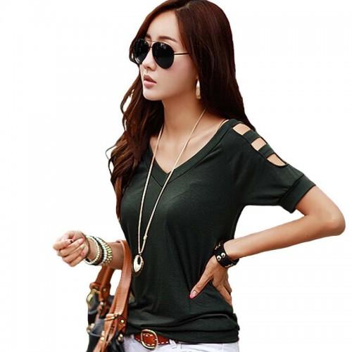 Off Shoulder Women T-shirt  V-neck Tops