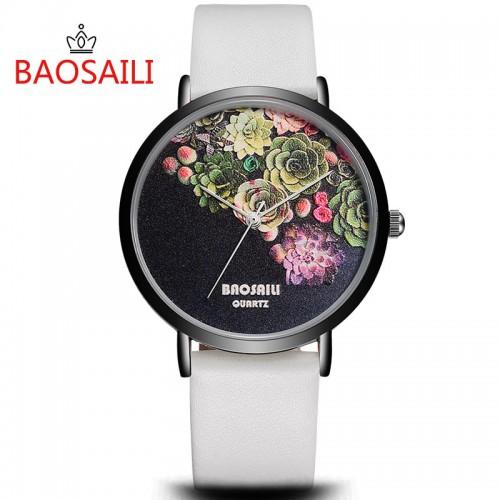 Floral Design Black Case Japan PC21 Movt Water Resistant Life Watch Women Relogio Feminino
