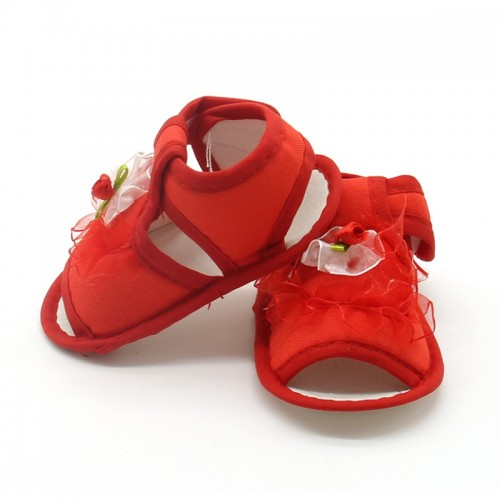 Baby Shoes Girl Lace Flowers Sandals Cotton Fabric Sandals Shoes for 0-18 Months Baby