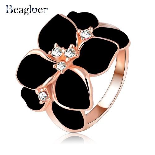 Beagloer Austrian Crystal Enamel Flower Ring For Women