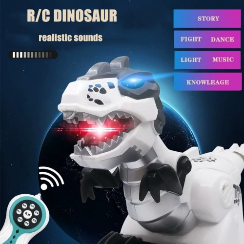 Remote Infrared Control T Rex Dinosaur With Shining Light Realistic Sound Walking Story Robot Toy