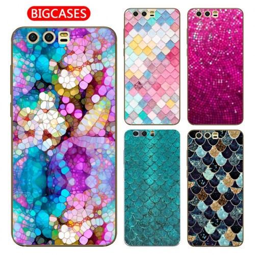 Huawei Honor 9 TPU Silicone Cute Happy Color Fish Scales Flower Pattern Painted Phone Case
