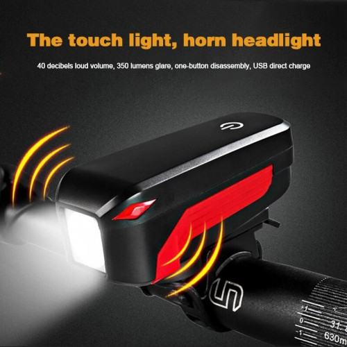 USB Rechargeable Cycling Riding Waterproof Touch Flashlight With Loud Horn