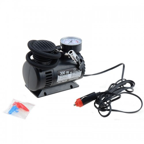 Black Mini 12V 300PSI Car Air Pump Tyre Compressor Portable Electric Car Air Pump Air Inflator