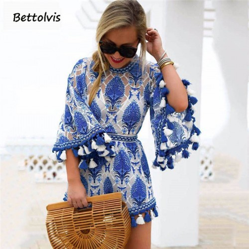 Boho Floral Lace Jumpsuit Romper One Piece Sashes Overalls Tassel See Through Back