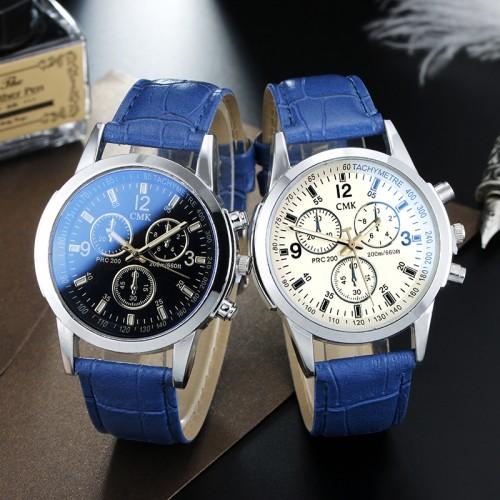 Brand CMK Business Mens Watches Casual Luxury Leather strap Men Blue Ray Glass Quartz Watch Fashion Cool Clock Relogio Masculino