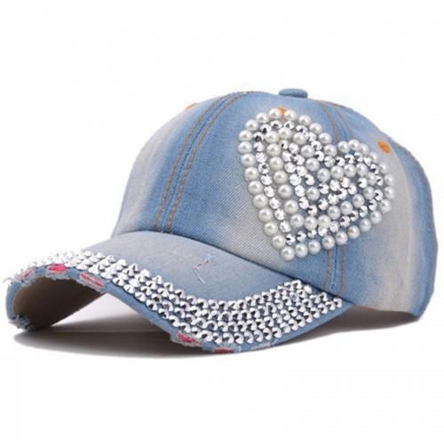 Denim Heart Baseball Cap Sports Hat