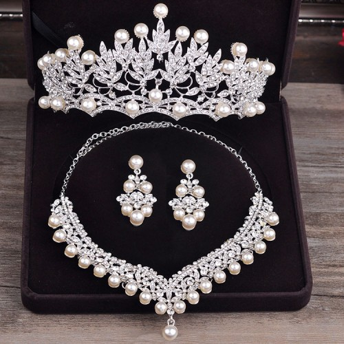 Bride Diaries Costume Jewelery Sets New Design Pearl Bride 3pcs Set Necklace Earrings Tiara Bridal