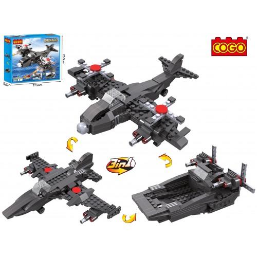 COGO CREATOR 3 in1 Combat Vehicles Aircraft Jet Boat Building Blocks