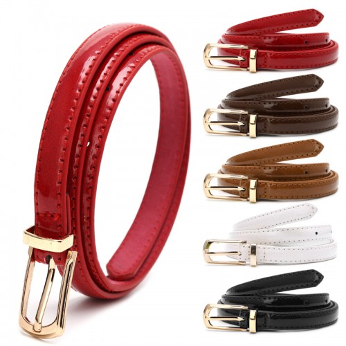 Candy Color Women Metal Buckle Thin Casual Faux Leather Belt