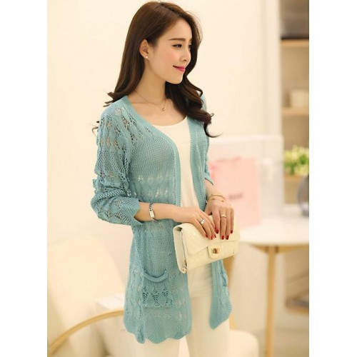 Korean Style Hollow Pocket Loose Long Sleeved Cardigan