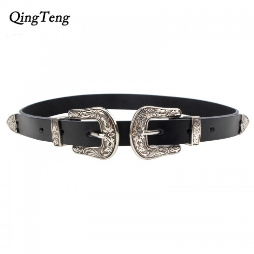 Carved Double Metal Pin Buckle Women Belts Vintage Genuine Leather Belt For Woman