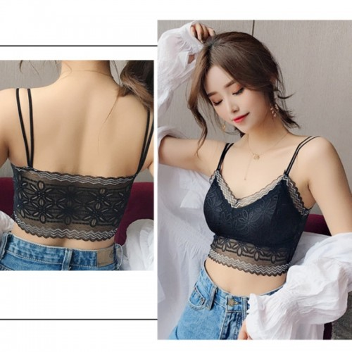 Casual Lace Embroidered Tube Top Woman Seamless Push Up Lace Bra