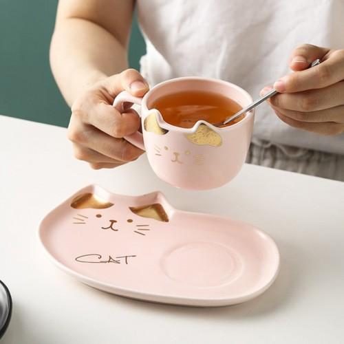 Ceramic Coffee Cup Sets Cartoon Cat Pattern Tea Cup Dessert Plate And Saucer Set