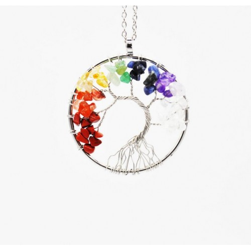 Life Tree Quartz Chips Pendant For Women Rainbow Crystals Multicolor For Wisdom Natural Stone Necklace