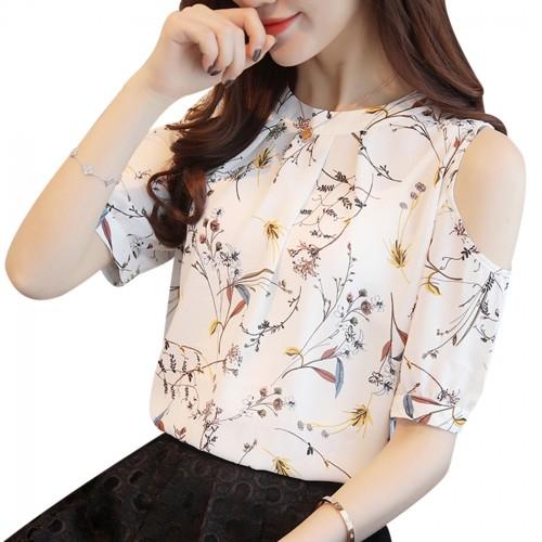 Cold Shoulder Chiffon Floral Printed Blouse Shirt Women Summer Tops