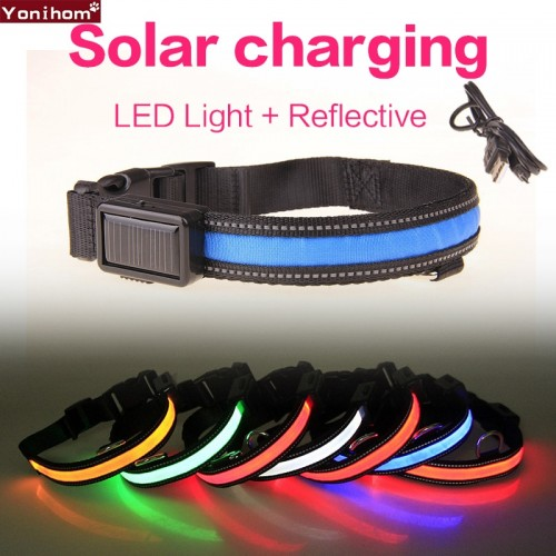 Collar for Dogs Solar USB Rechargeable LED Collar Nylon Pet Dog Collars Safety Light