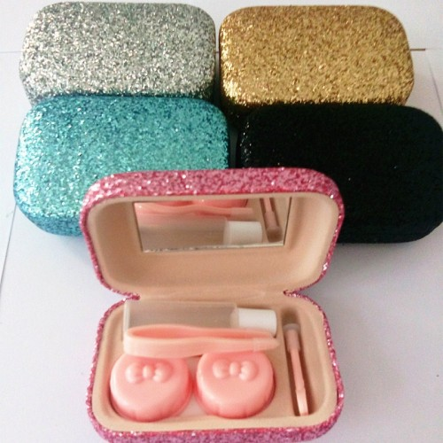 Color scales contact lens case with mirror PU colored contact lens case cute Lovely Travel box