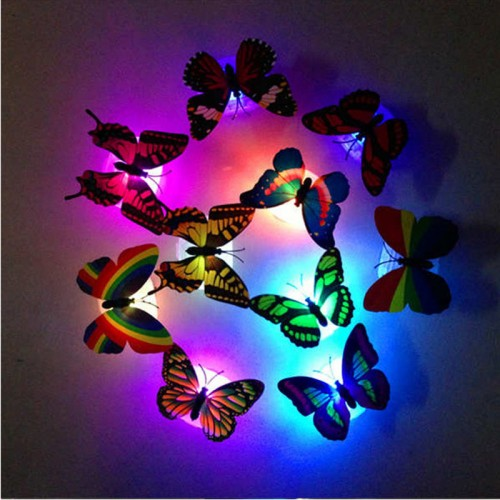 5 Pieces Set of Colorful Changing butterflies  LED Night Light Lamp Home glow in the dark Room