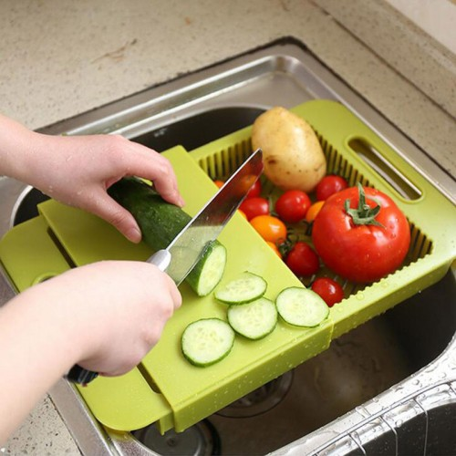 Creative 2 in 1 Mildew Resistant Cutting Board Drawer Storage Draining Chopping Board