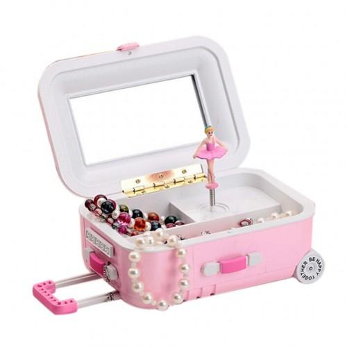 Creative Suitcase Style Music Box Jewelry Cosmetics Rotating Ballerina Girl Storage Boxes