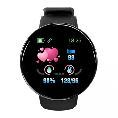 D18 Heart Rate Blood Pressure Smartwatch Color Screen Fitness Tracker Smart Watch IP65 Waterproof