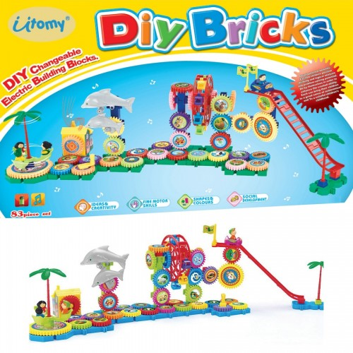 DIY Bricks Electronic Building playground Interlocking Gears Toy Play Set STEM Toys 30-PCS