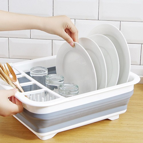 Dish Drying Drainer Kitchen Storage Container Collapsible Dinnerware Vegetable Shelf Holder
