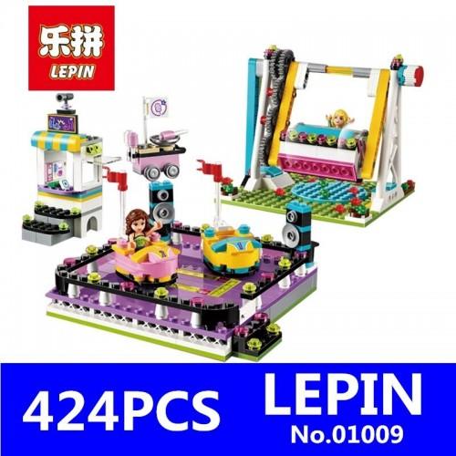 424pcs Building Blocks Amusement Park Bumper Cars Brick Figure Toys For Children