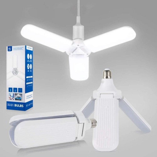 LED Lights 45W Garage Ceiling Light Foldable Fan Blade LED Corn Bulb 4500LM