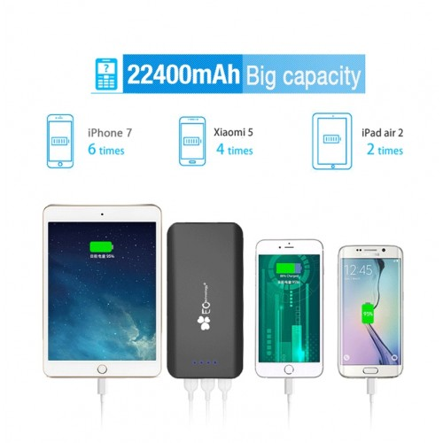 EC Technology Power Bank 22400mah 3 USB Port Power Bank Fast Charging Universal Battery Charger