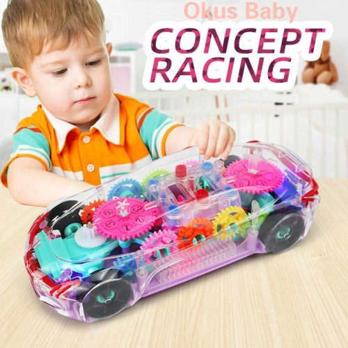 Electric Universal Gear Mechanical Concept Colorful Light Music Transparent Toy Car