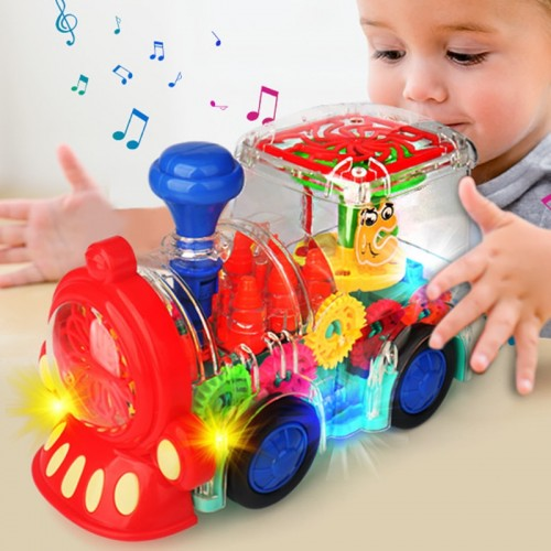 Electric Transparent Gear Train Universal Walking Train Colorful Lights Musical Toy