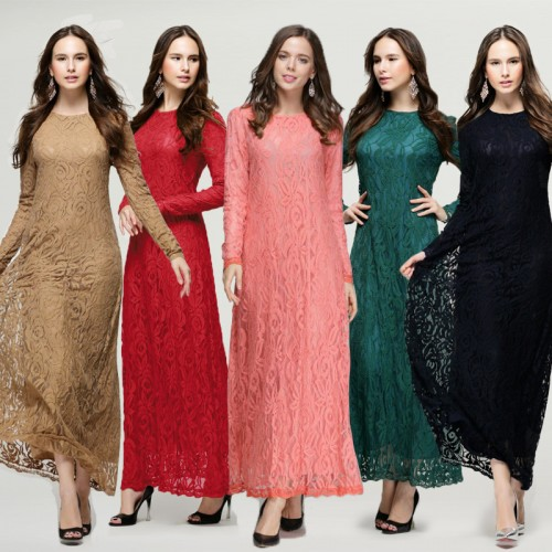 Vintage Women Wear Lace Long Sleeve Maxi Dress Kaftan