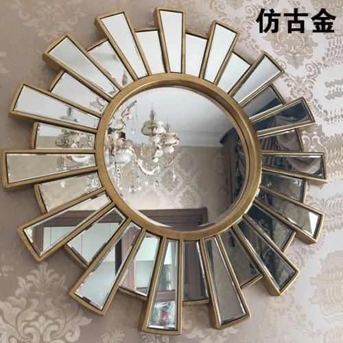 European Modern Fireplace Decorative Mirror Round Wall Mounting Large Frame
