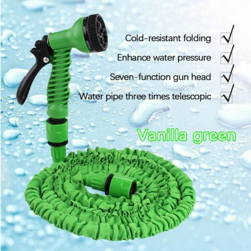 Expandable Garden Hose Pipe Spray Gun Flexible Expanding Stretch Pipe 50FT